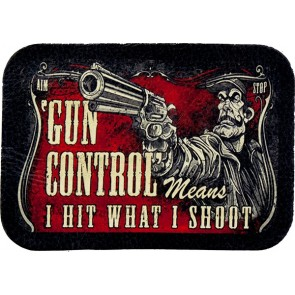 Red & Black Gun Control Means, I Hit What I Shoot Genuine Leather Patch