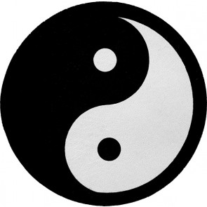 Traditional Yin Yang Black & White Genuine Leather Round Patch