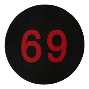 Red & Black 69 100% Genuine Leather Biker Patch