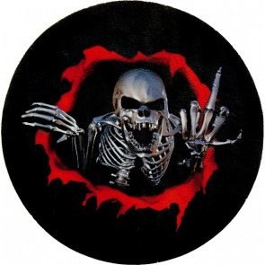 Red & Black Break Through Chrome Skeleton Middle Finger Genuine Leather Patch