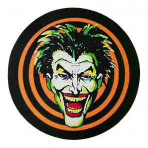 orang & Black Hypnotizing Laughing Joker Face Genuine Leather Patch