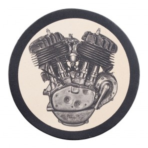 Flathead Engine Genuine Leather Round Sew On Patch
