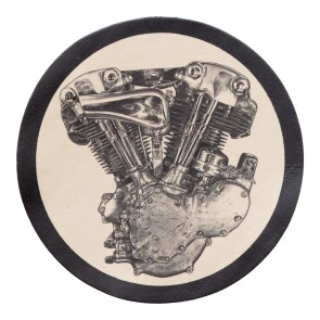 Subdued Knucklehead Engine Genuine Leather Round Patch