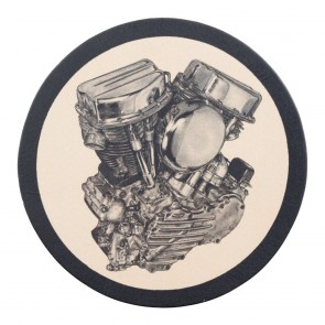 Sew On Panhead Engine Genuine Leather Round Patch