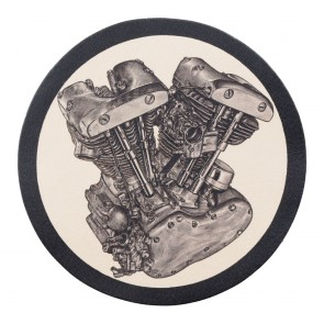 Sew On V-Twin Engine Genuine Leather Round Patch