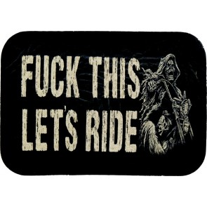 Fuck This Let's Ride Grim Reaper Riding Motorcycle Genuine Leather Patch
