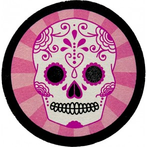 Round Pink & White Sugar Skull Genuine Leather Patch