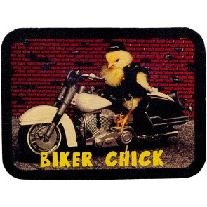 Biker Chick Motorcycle & Brick Wall Genuine Leather Patch