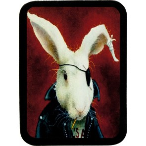 Red Background One Eyed White Rabbit Biker Genuine Leather Patch