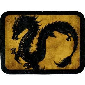 Golden Black Red Eyed Dragon Genuine Leather Patch