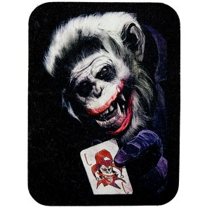 Joker Faced Monkey With Joker Card Genuine Leather Patch