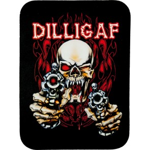 Red & Black DILLIGAF Skull & Guns Genuine Leather Sew On Patch