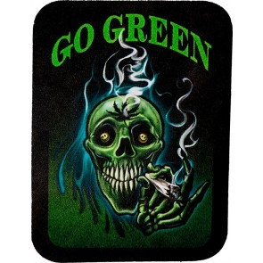 Go Green Smiling Weed Smoking Skull Leather Patch