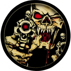Bloody Shooting Vampire Skull Genuine Leather Round Patch