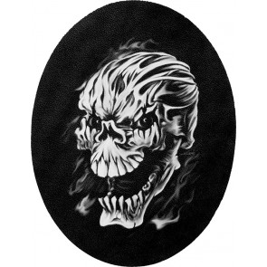 Oval Black & White Evil Smoky Skull Genuine Leather Sew On Patch