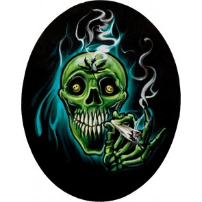 Marijuana Smoking Skull Genuine Leather Sew On Oval Patch