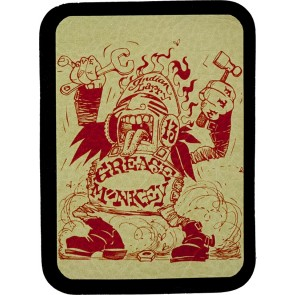 Red Grease Monkey Indian Larry Genuine Leather Patch
