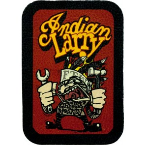 Angry Grease Monkey Indian Larry Red Genuine Leather Sew On Patch