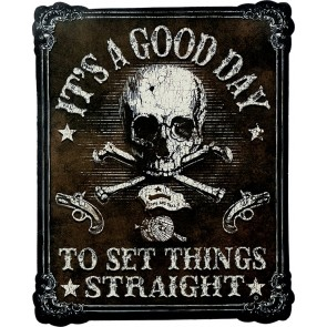 It's A Good Day Skull & Crossbones Genuine Leather Sew On Patch