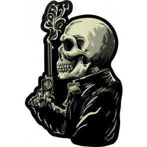 Smoking Gun Skeleton Profile Genuine Leather Sew On Patch