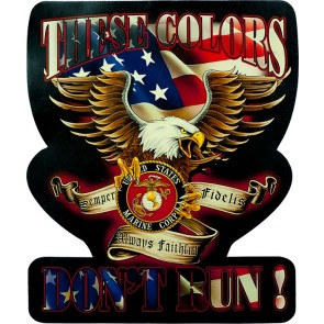 Red White & Blue These Colors Don't Run US Marines Logo Eagle Genuine Leather Patch
