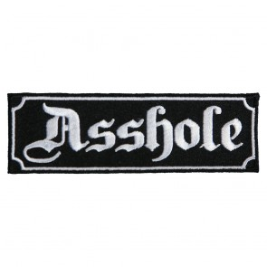 Black & White Asshole Written in Gothic Script Embroidered Patch