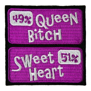 Purple 49% Queen Bitch 51% Sweetheart Embroidered Women's Patch