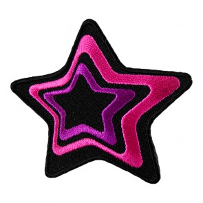 Pink & Purple Embroidered Outlined Decorative Star Patch