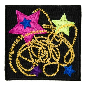 Colorful Stars With Gold Star Dust Embroidered Patch
