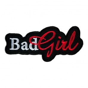 Red & White Bad Girl Cut Out Embroidered Patch