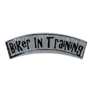 Reflective Biker In Training Iron On Rocker Patch