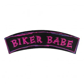 Biker Babe Pink & Purple Embroidered Iron On & Sew On Rocker Patch