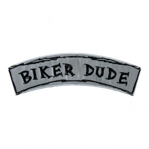 Reflective Biker Dude Embroidered Iron On & Sew On Rocker Patch