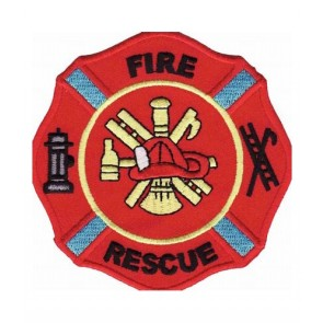 Fire Rescue Red Maltese Cross, Firefighter Patches