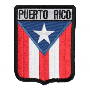 Iron On Puerto Rico Flag Shield Patch