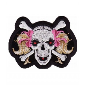 Pink Ribbon Blonde Pigtails Skull Patch, Ladies Patches