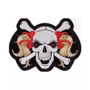 Red Ribbon Blonde Pigtails Skull Patch, Ladies Patches