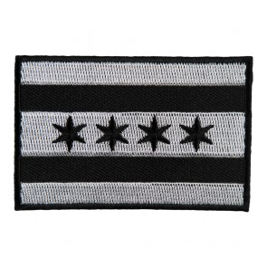 Embroidered Chicago Black & Gray Flag Patch