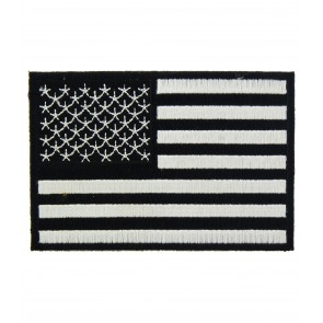 Embroidered American Flag Black & White Patch
