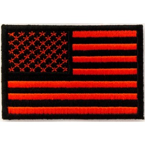 Embroidered American Flag Red & Black Sew On & Iron On Patch