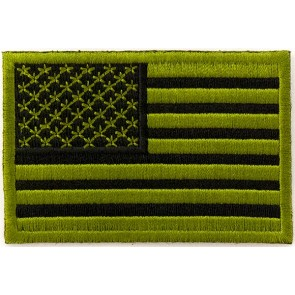 Embroidered American Flag Green & Black Sew On & Iron On Patch