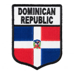 Embroidered Dominican Republic Flag Shield Patch