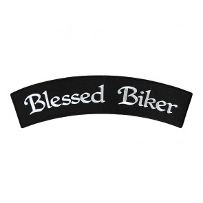 Blessed Biker Embroidered Iron On Rocker Patch