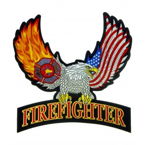 Flaming Wings Eagle Firefighter Patch, Firefighter Back Patches