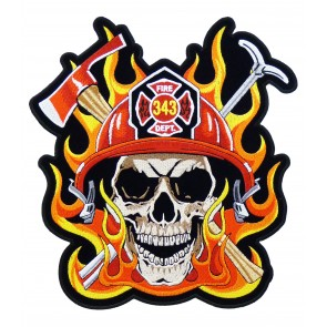 343 Firefighter Skull & Flames Patch, Firefighter Back Patches