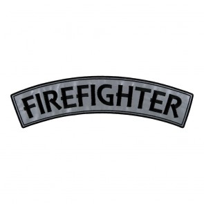 Sew On Embroidered Firefighter Reflective Top Rocker Patch