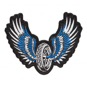 Blue Winged Motorcycle Wheel Embroidered Patch