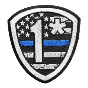 Embroidered 1* US Flag Thin Blue Line Shield Patch