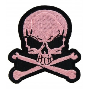Skull & Crossbones Pink Patch, Ladies Skull Patches