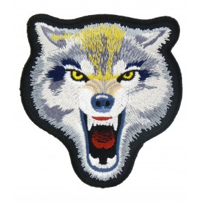 Grey & White Growling Wolf Patch, Wolf Back Patches